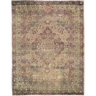 Early 20th Century Distressed Antique Signed Persian Lavar Kerman Rug - 9′ × 12′1″ For Sale