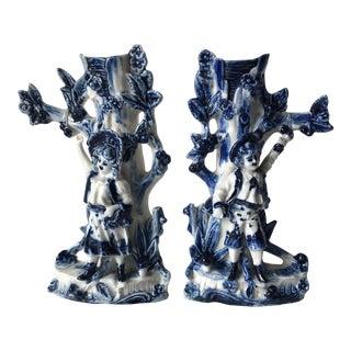 Antique Porcelain Paste Figural Spill Vases-A Pair For Sale