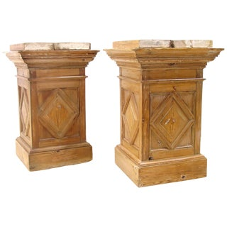 Antique Weathered Pine Pedestals - a Pair For Sale