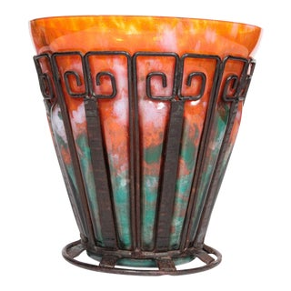 French Art Deco Hand-Hammered Iron and Glass Vase Signed Lorrain For Sale