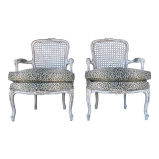 Custom Recovered Bergere Chairs - A Pair