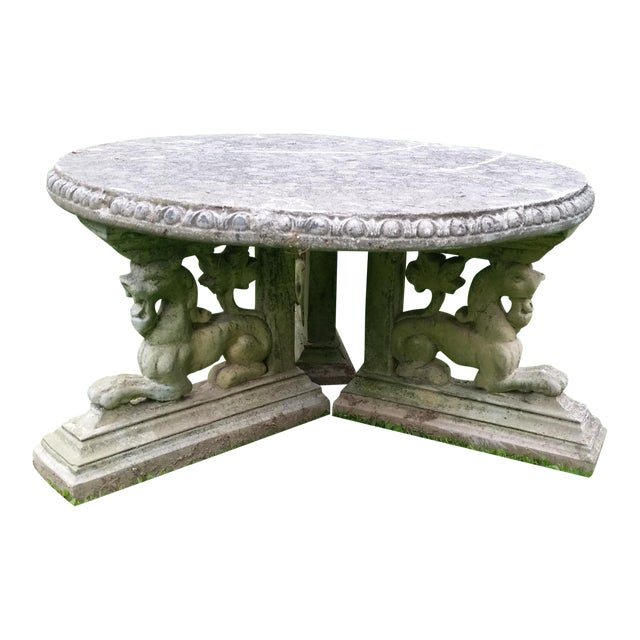 French Rococo Lion Coffee Table Patio Cement - Image 1 of 6