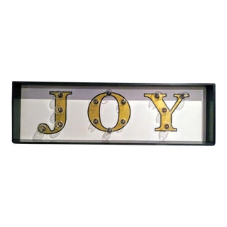 Large Joy Christmas Light Up Plug in Wall Sign Art For Sale