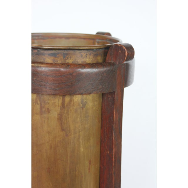 Mission Oak and Brass Umbrella Stand by the Lakeside Craft Shops For Sale - Image 4 of 6
