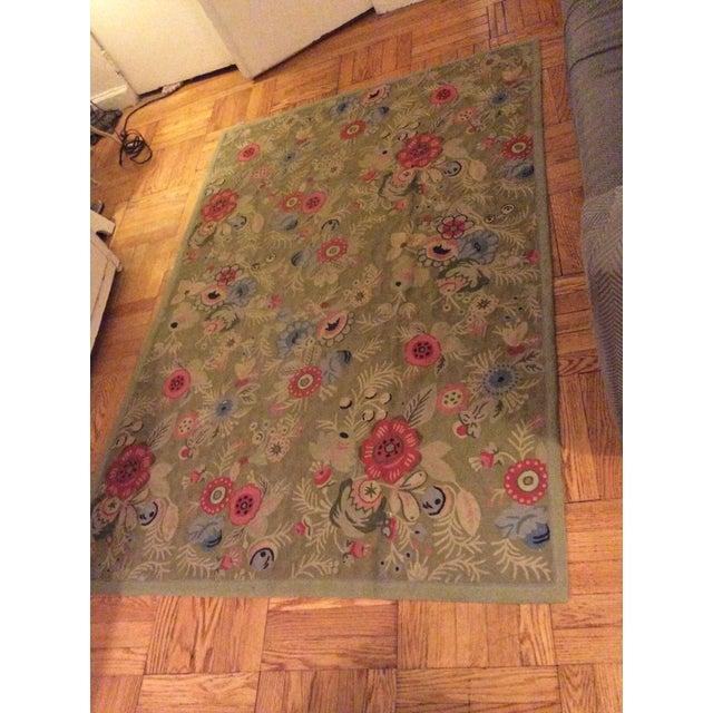 Anthropologie Floral Wool Rug - 4′ × 5′10″
