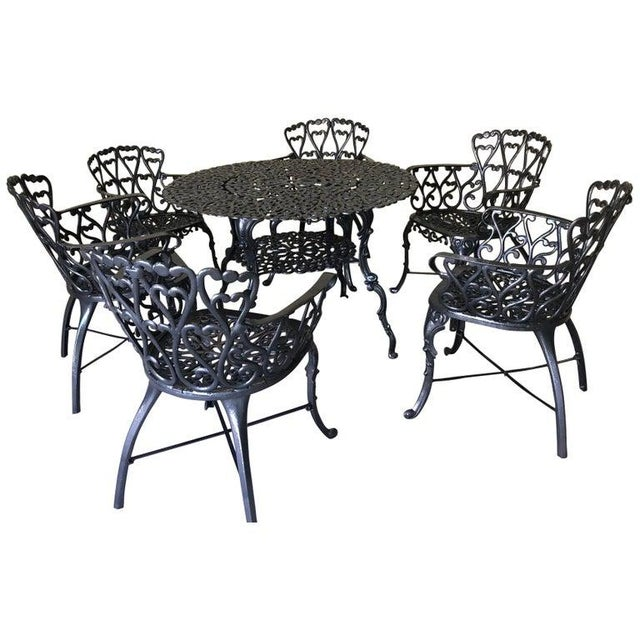 French New Orleans Style Umbrella Dining Table and Chairs Patio Set For Sale - Image 9 of 10