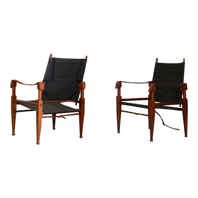 Pair of Vintage Safari Chairs by Kaare Klint for Rud. Rasmussen For Sale