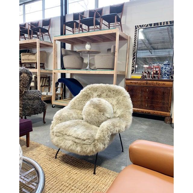 Animal Skin Vintage Eero Saarinen Womb Chair Restored in New Zealand Sheepskin For Sale - Image 7 of 10