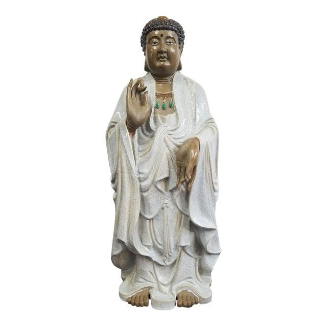 Glazed Ceramic Buddha Statue - Image 1 of 9