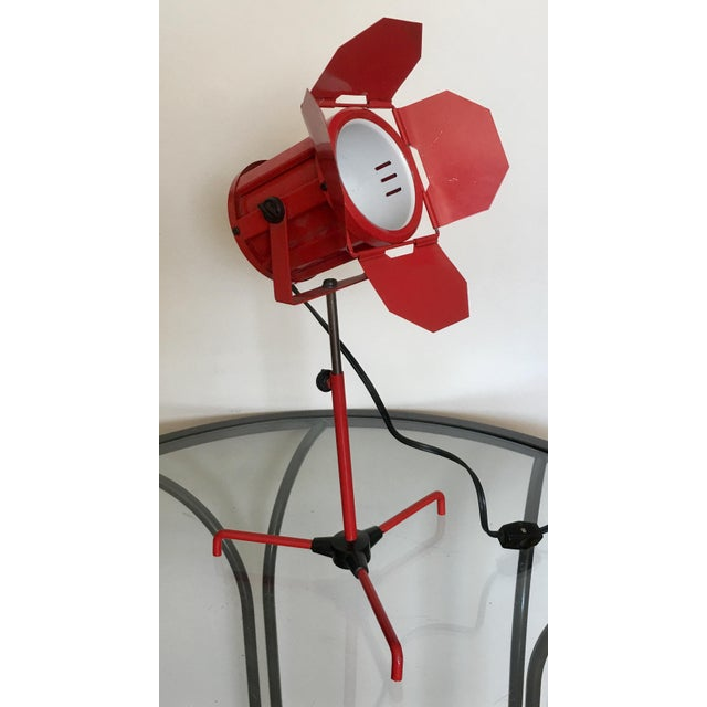 Enamel Mid Century Red Tripod Spotlight Lamp For Sale - Image 7 of 8