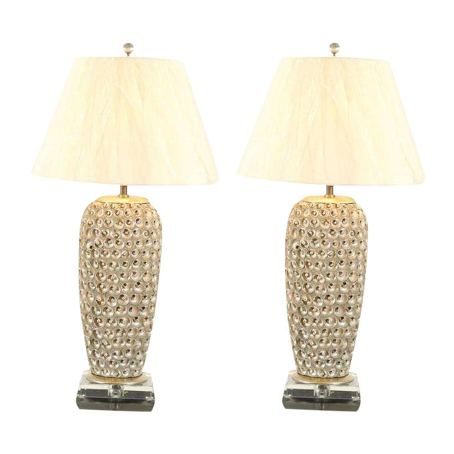 Pair of Modern Large-Scale Shell Lamps with Lucite and Silver Leaf Accents For Sale
