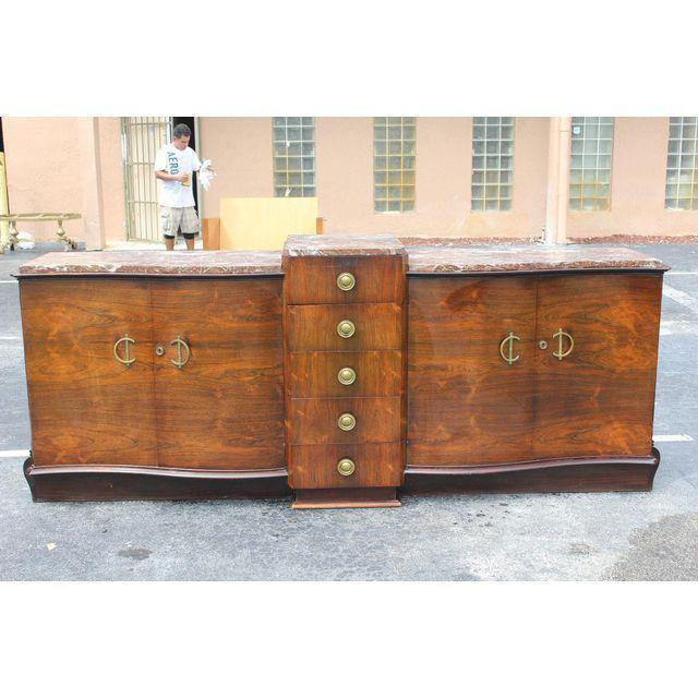 1940s Art Deco Grand Scale Macassar Ebony Sideboard For Sale - Image 9 of 12