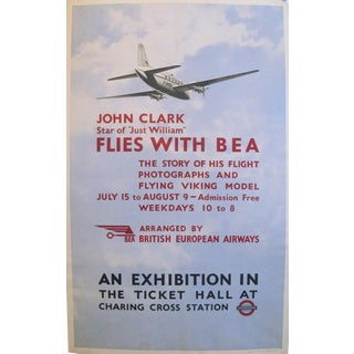 1950s Original British Aviation Poster, London Underground Plane