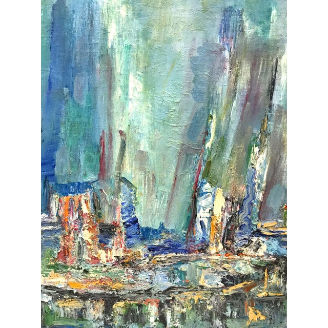 """Striking abstract landscape or seascape, dated 1981. Signed """"F. Hochstein"""" on top right and on reverse. Sticker indicates..."""
