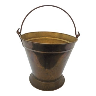 Antique Iron Handled Brass Fire Pail or Water Bucket For Sale