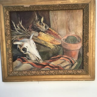 """1960s Vintage """"Still Life With Cow Skull"""" Oil on Canvas by Paul Zimmerman Preview"""