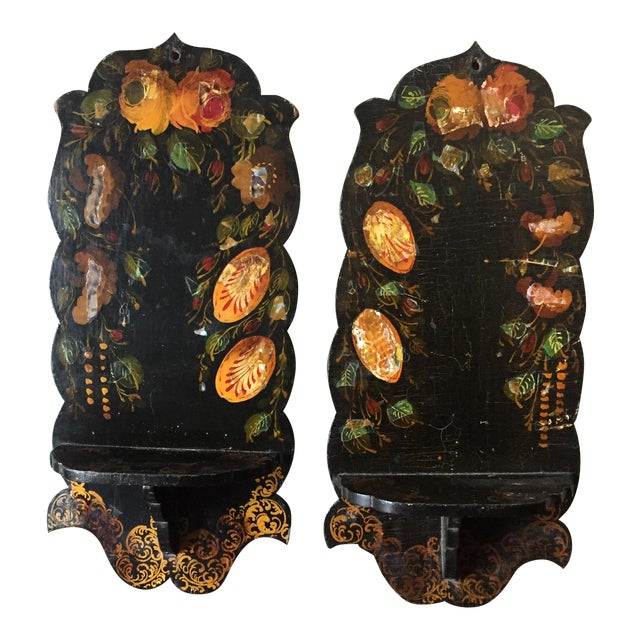Pair Of Hand Painted Floral Sconces - Image 1 of 8