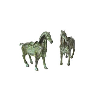 Late 20th Century Green Bronze Horses - a Pair For Sale