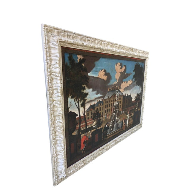 """17th Century Dutch School """"Palace Courtyard"""" Painting For Sale In Charleston - Image 6 of 11"""
