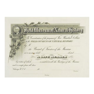 Field Museum of Natural History Antique Membership Certificate For Sale
