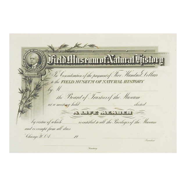 Field Museum of Natural History Antique Membership Certificate ...