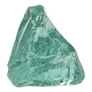 Vintage Aqua Slag Glass Wedge