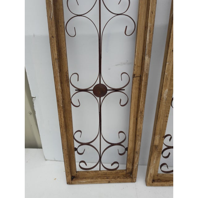 Farmhouse Rustic Country Farmhouse Cathedral Window Grilled Shabby Wall Garden Hangings For Sale - Image 3 of 8
