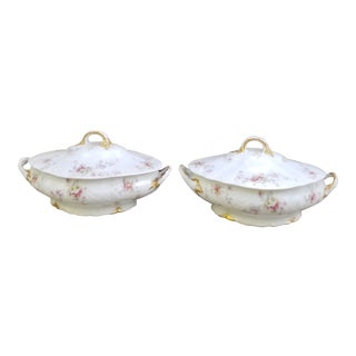 Limoges Victorian Covered Serving Dishes - a Pair For Sale