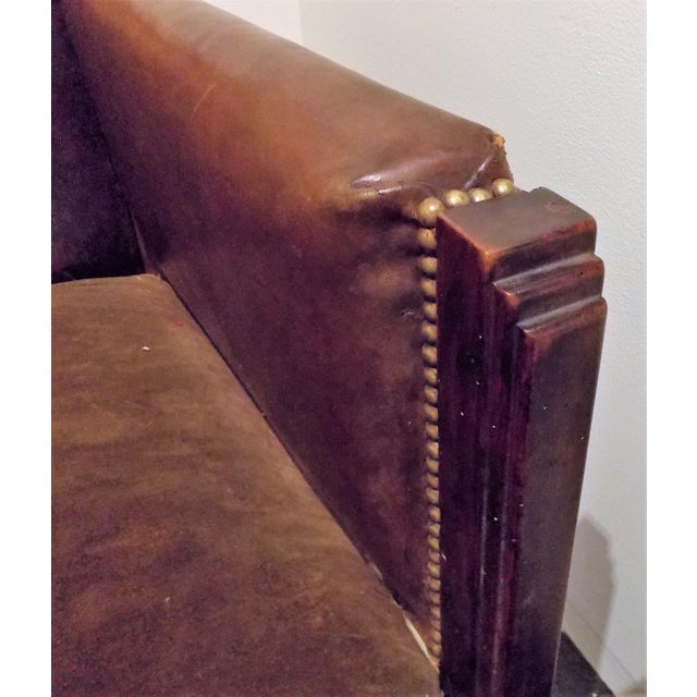 Vintage French Leather Club Chair - Image 5 of 8