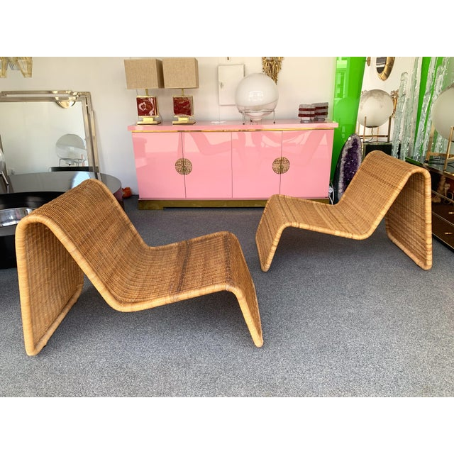 1960s Pair of Rattan Lounge Chair P3 by Tito Agnoli. Italy, 1960s For Sale - Image 5 of 12