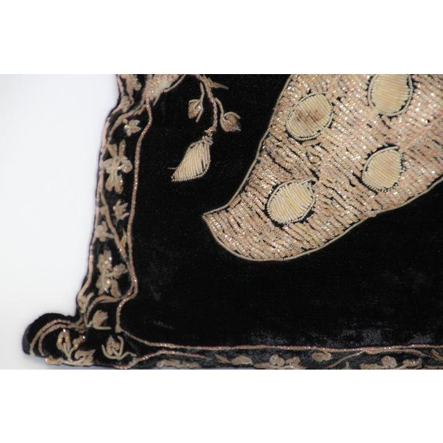 Black Velvet Throw Pillow Embroidered With Metallic Gold Threads For Sale In Los Angeles - Image 6 of 13