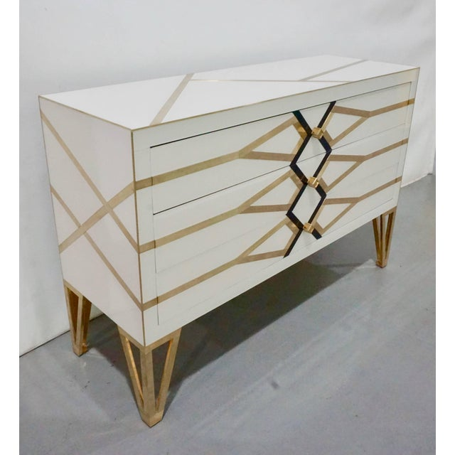 Italian three-drawer customizable commode / sideboard, entirely handmade, exclusive modern Art Deco design by Cosulich...