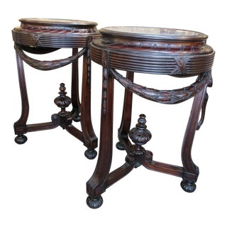 1900s French Marble Top Pedestals - a Pair For Sale