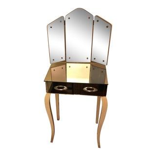 1940s Antique Mirrored Vanity For Sale