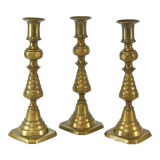 19th Century English Brass Candlesticks - Set of 3 For Sale