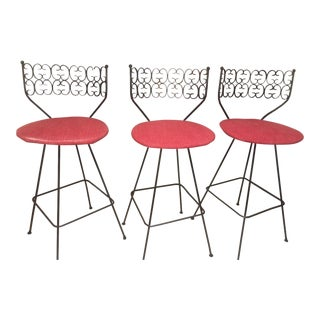 Vintage Mid-Century Arthur Umanoff Granada Counter Stools- Set of 3 For Sale