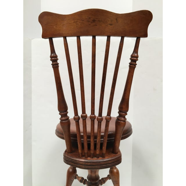 Antique Victorian High Back Swivel Piano Stool For Sale In Dallas - Image 6 of 8