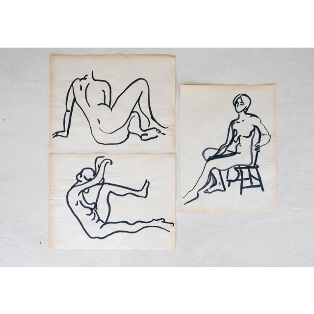"Selected by Ken Fulk at Brimfield Antiques Market. All 3 pieces are 18"" w x 24"" h. Likely from a drawing class, these..."