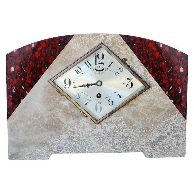 Italian Marble Art Deco Mantel Clock Set With Matching Garniture - Set of 3 - 5oth Anniversary Sale For Sale - Image 4 of 7