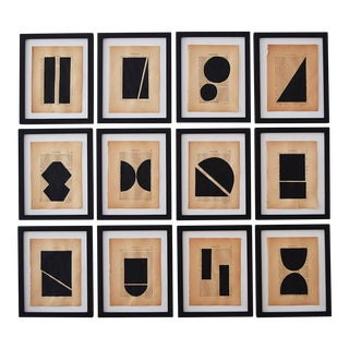 Josh Young Design House Noir Géométrique Collection Paintings - 12 Pieces For Sale