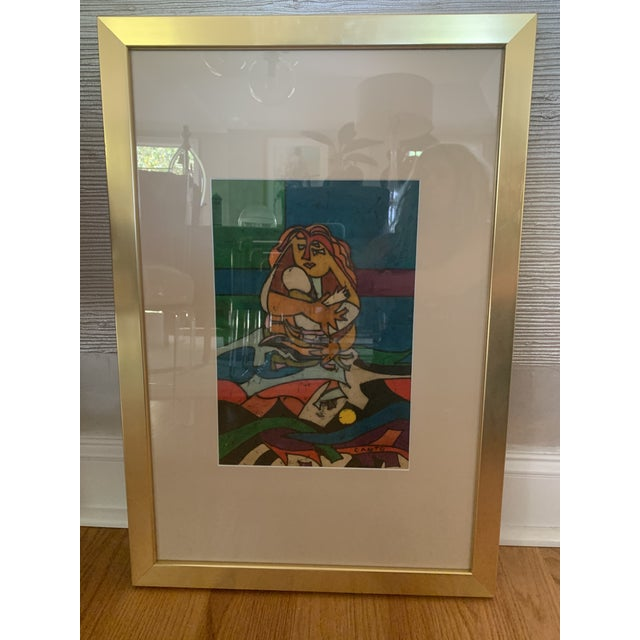 """1970s Modern """"Mother and Child"""" Art by Canto For Sale In Charlotte - Image 6 of 6"""