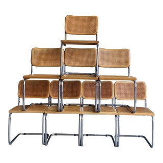 Vintage Marcel Breuer Style Chrome & Cane Cesca Dining Chairs - Set of 8 For Sale