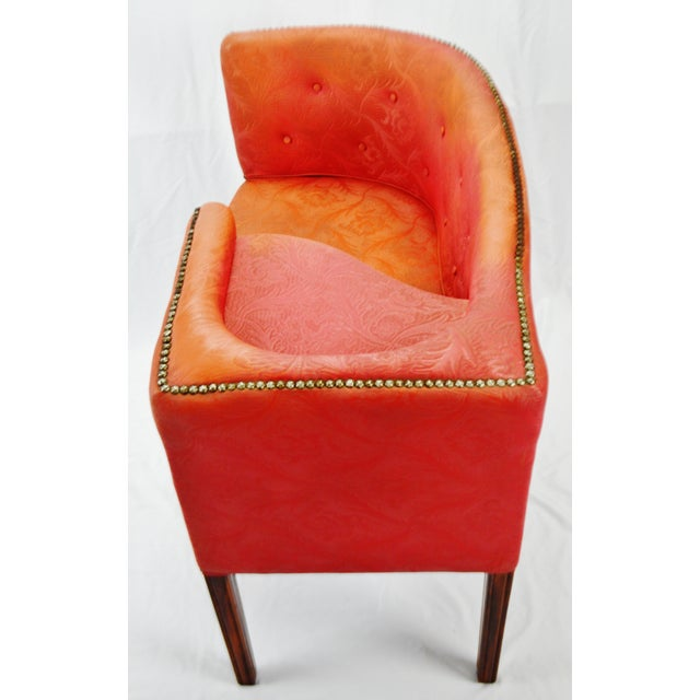 Vintage Red Jacquard Vinyl Barrel Back Gossip Bench Telephone Chair Hall Bench For Sale In Philadelphia - Image 6 of 13
