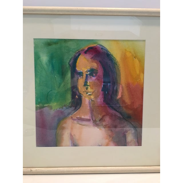 """Watercolor , """"Self Portrait"""" by Julie Strable , Michigan artist . Framed under glass , measures 20.5"""" by 20.5"""". Watercolor..."""