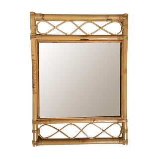 Single-Strand Rattan Mirror W/ Stick Rattan Wave Border For Sale