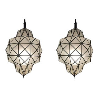 Art Deco White Milk Chandeliers, Pendant or Lanterns in Dome Shape, a Pair For Sale