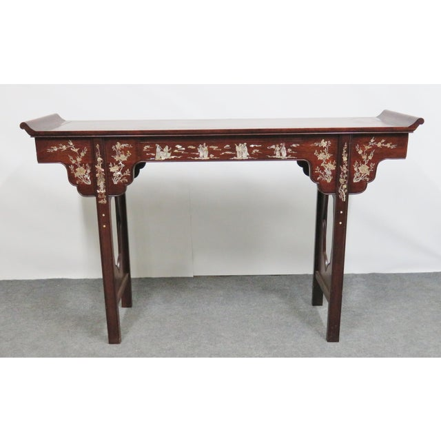 Chinese style rosewood console altar style table , made of rosewood with mother of pearl inlaid Chinese figures, drawer on...