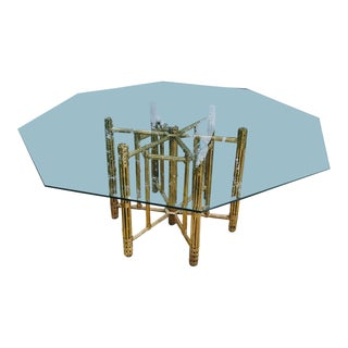 1970s Regency McGuire Gilt Bamboo Glass Top Octagonal Dining Table