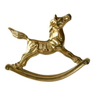1960s Mid-Century Modern Brass Rocking Horse Figurine For Sale