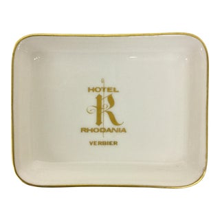 Hotel Rhodania Gold Leaf Porcelain Trinket Tray For Sale